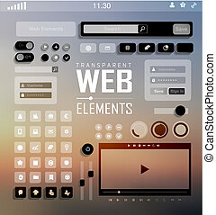 Vector Web Elements, Buttons and Labels Site Navigation -...