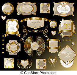 gold card set - retro gold white card, label an be used for...