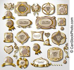 gold card set - gold white card, label set retro vintage