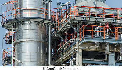 Industrial zone, Steel pipelines and cables in factory