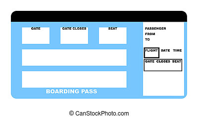 Airline ticket - Illustration of blank airline boarding pass...