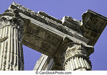 Portico of Octavia, Rome, Italy - Close-up of portico of...