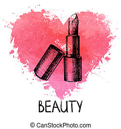 Beauty sketch background with splash watercolor heart...