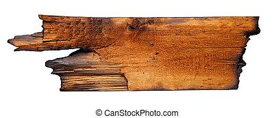 carbonizado, madera, tabla