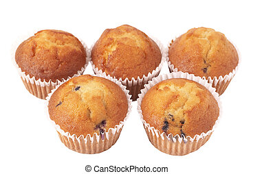 Blueberry muffins on white