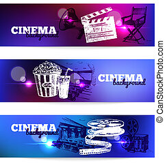 Set of movie cinema banners. Background with hand drawn...