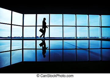 Walking along window - Outline of office worker with...
