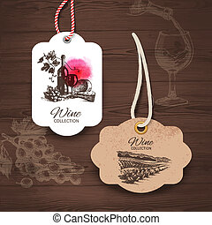 Vintage wine labels. Hand drawn illustrations. Wooden...