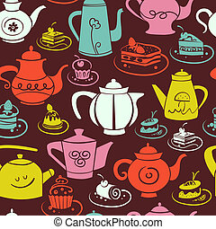 Coffee and tea seamless pattern. Set of sweet cakes and teapots icons