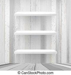 Layers Blank white wooden bookshelf + EPS10 vector file