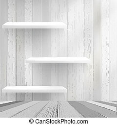 Wood shelf on wood background. + EPS10