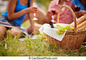 Picnic provision - Basket with bottle, bread and grapes on...