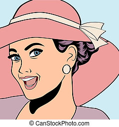 popart retro woman with sun hat in comics style, summer...