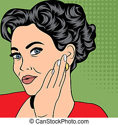 pop art retro woman in comics style
