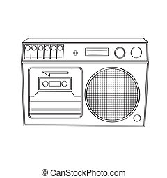 Vintage boom-box isolated on white background, vector...