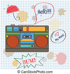 musical background with retro boom-box, vector illustration