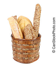 Composition with bread and rolls.