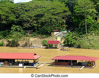 Floating restaurants on Tembeling river, Taman Negara...