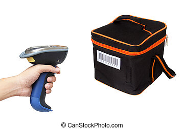 Hoding and scanning picnic box with barcode scanner over...