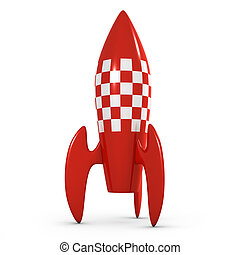 3d Retro space rocket - 3d render of a red rocket