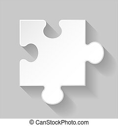 Puzzle piece - Illustration of white puzzle element with...