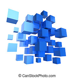 3d Blue cube design - 3d render of a collection of blue...