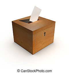 3d Ballot box - 3d render of a box with voting slip