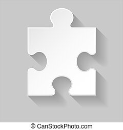 Puzzle piece - White puzzle element with long shadow...