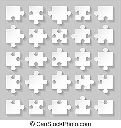 Puzzle set - Set of blank white puzzle pieces on grey...