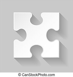 Puzzle piece - White puzzle detail with long shadow on grey...