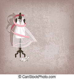 wedding dress on grungy background - vector illustration....