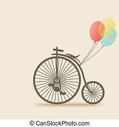 bike with balloons - vector illustration. eps 10