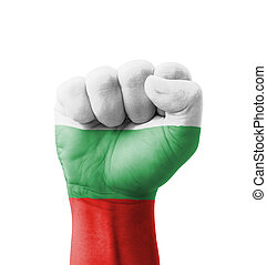Fist of Bulgaria flag painted, multi purpose concept -...