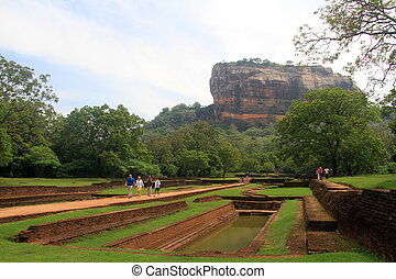 Sigiriya rock and people in Sri Lanka