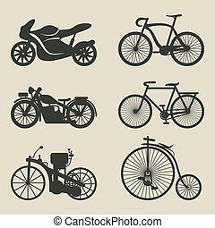 motorcycle and bicycle icons