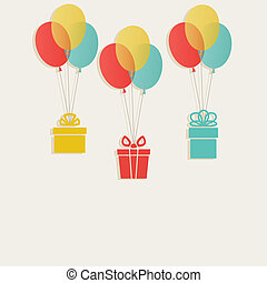 gifts with colored balloons - vector illustration eps 10