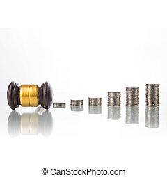 judges law gavel with coins