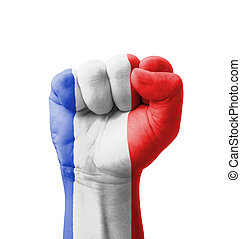 Fist of France flag painted, multi purpose concept -...