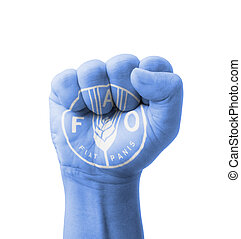 Fist of FAO (Food and Agriculture Organization) flag...