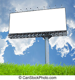 Blank billboard on the blue sky . Useful for your...