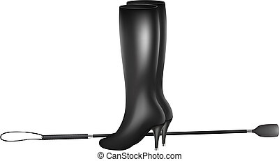 Riding crop and high heels boots