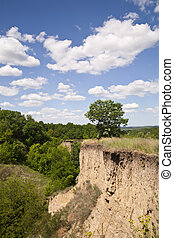 ravine on the background of the sky