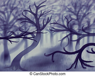 Foggy Forest - Landscape illustration showing dark forest in...