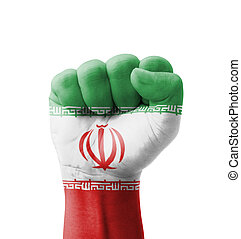 Fist of Iran flag painted, multi purpose concept - isolated...