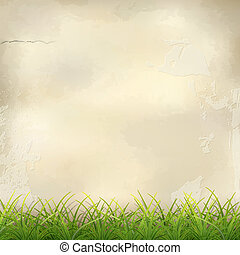 Green Grass on Plaster Wall Abstract Background - Vector...