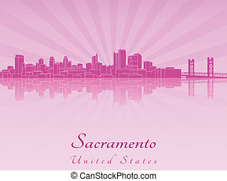 Sacramento skyline in purple radiant orchid in editable...