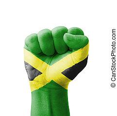 puño, jamaica, bandera, pintado, multi,...
