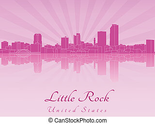 Little Rock skyline in purple radiant orchid in editable...