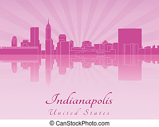 Indianapolis skyline in purple radiant orchid