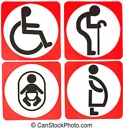 Toilet Sign with White Circle and Red Background